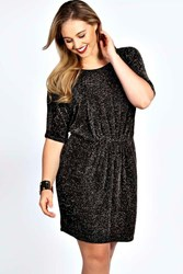 Boohoo Shimmer Batwing Dress Multi