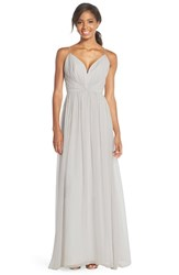 Women's Jim Hjelm Occasions Draped V Neck Chiffon Gown Candelight Ivory