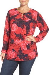 Sejour Plus Size Women's Keyhole Neck Tunic Navy Peacoat Floral Print