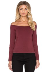 Monrow Retro Long Sleeve Off The Shoulder Top Burgundy