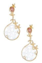 Cristina Sabatini 18K Yellow Gold Plated Sterling Silver Sunstone And Mother Of Pearl Butterfly Earrings