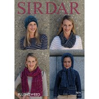 Sirdar Plushtweed Women's And Children's Hat And Scarf Knitting Paper Pattern 7874