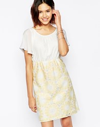 Traffic People Send Me No Flowers Reckless Dress With Floral Crochet Skirt Peach