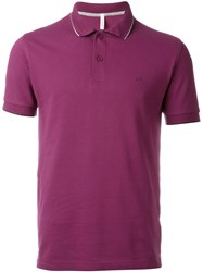 Sun 68 Collar And Sleeve Trim Detail 'Small Righe' Polo Shirt Pink And Purple