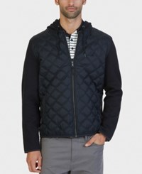 Nautica Men's Fleece Quilted Hoodie True Black
