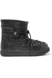 Moncler Textured Leather And Shell Boots Black