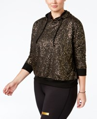 Material Girl Active Plus Size Metallic Hoodie Only At Macy's Noir