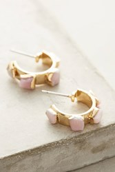 Anthropologie Pink Opal Gold Mini Hoops