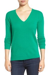 Halogenr Women's Halogen V Neck Cashmere Sweater Green Lake