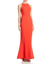 Maria Bianca Nero Ruffled Open Back Gown Red