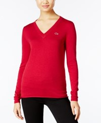 Lacoste V Neck Sweater Bordeaux Chine