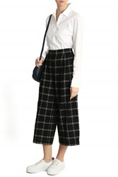Tibi Women S Plaid Wool Culottes Boutique1 Black