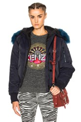 Kenzo Tech Jacket With Sheep Fur In Blue