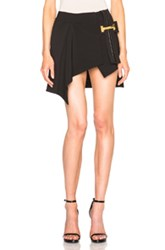 Anthony Vaccarello Vertical Belt Asymmetrical Skirt In Black