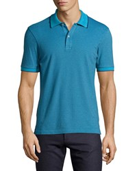 Luciano Barbera Contrast Trim Polo Shirt Blue