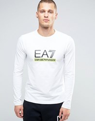 Emporio Armani Ea7 Long Sleeve Top With Large Logo In White White