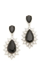 Kenneth Jay Lane Jet And Crystal Teardrop Earrings Silver Jet