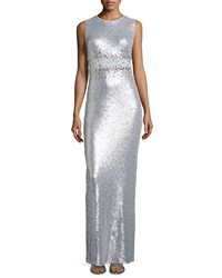 Marina Sequined Illusion Waist Column Gown Silver