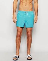 Asos Short Length Swim Shorts In Aqua Blue