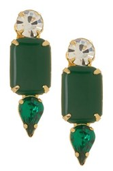 Yochi Design Geo Drop Jade Earrings Green