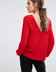 Baandsh Eliet Blouse With Button Back Red