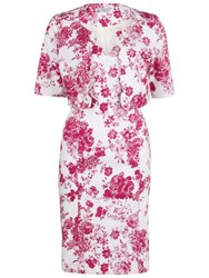 Gina Bacconi Floral Stretch Cotton Dress And Jacket Pink