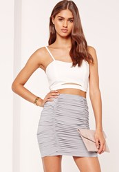 Missguided Ruched Front Slinky Mini Skirt Grey