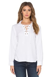 Bella Dahl Lace Up Long Sleeve Top White