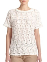 Vince Short Sleeve Lace Tee Off White