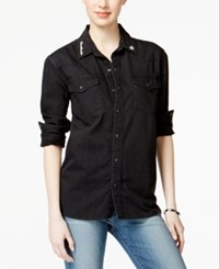 Lucky Brand Jeans Western Style Embellished Black Wash Denim Shirt