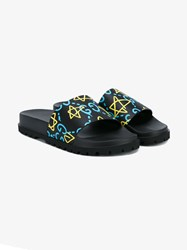 Gucci Ghost Printed Slides Black Blue Yellow