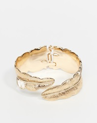 Asos Feather Cuff Bracelet In Gold