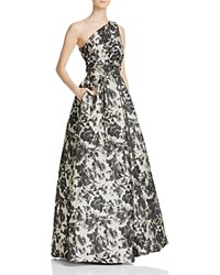 Carmen Marc Valvo Infusion Printed One Shoulder Ball Gown Grey Black