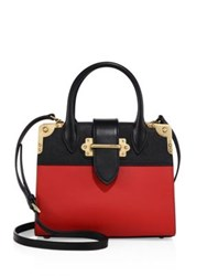 Prada City Small Leather Top Handle Accordion Tote Black Red