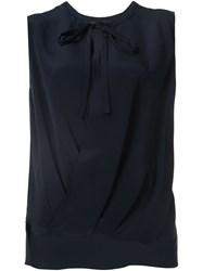 Derek Lam Gathered Front Sleeveless Blouse Blue