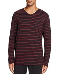 Daniel Buchler Striped V Neck Lounge Tee Red Stripe