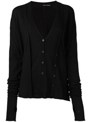 Isabel Benenato Double Fastening Effect Cardigan Black