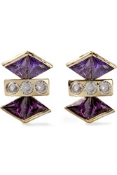 Kevia Gold Plated Cubic Zirconia Earrings Purple