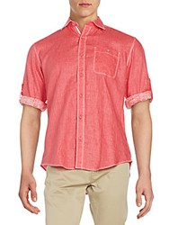 Bugatchi Shaped Fit Linen Sportshirt Ruby Red