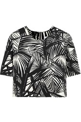 Elizabeth And James Lowell Cropped Printed Stretch Scuba Jersey Top Black