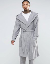 Asos Loungewear Oversize Reverse Loopback Hooded Dressing Gown Storm Cloud Grey