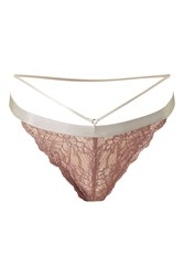 Topshop Strappy Lace Thong Taupe