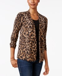 Charter Club Cashmere Animal Print Cardigan Only At Macy's Classic Black