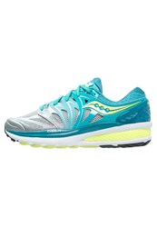 Saucony Hurricane Iso 2 Stabilty Running Shoes Blue Silver Citron
