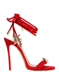 Dsquared 110Mm Suede Wrap Around Sandals Red