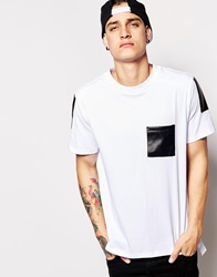 Standard Issue T Shirt With Faux Leather Pocket White