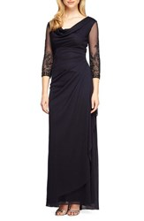 Alex Evenings Women's Beaded Mesh And Jersey Gown