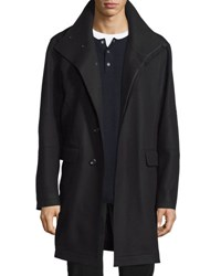 Vince Raw Edge Single Breasted Military Coat Black