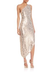 Halston One Shoulder Asymmetrical Sequin Dress Oyster Gold