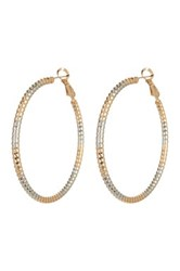 Natasha Accessories Mixed Metal Etched Hoop Earrings Multi